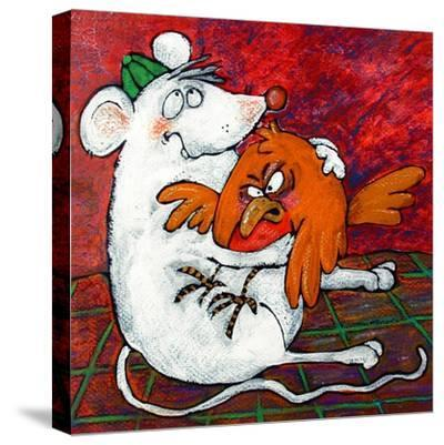 Mouse and Robin-Maylee Christie-Stretched Canvas Print