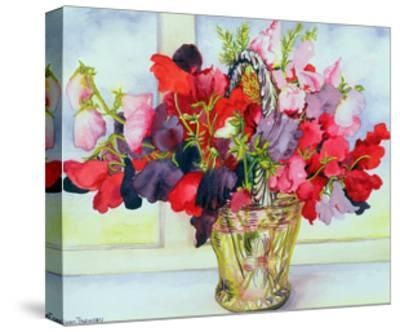 Sweet Peas in a Vase-Joan Thewsey-Stretched Canvas Print
