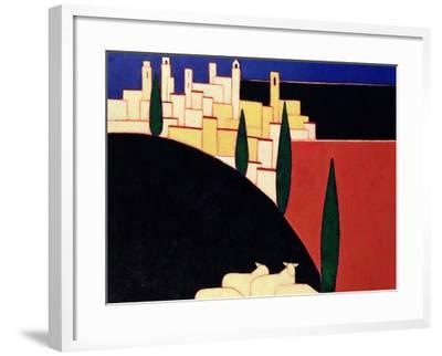 San Gimignano with Sheep, 1999-Eithne Donne-Framed Giclee Print