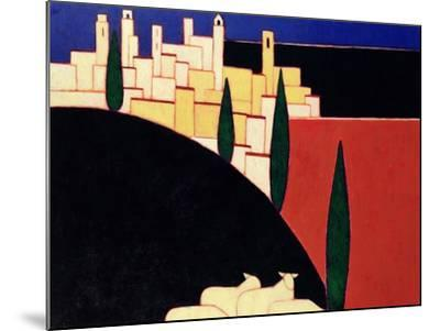 San Gimignano with Sheep, 1999-Eithne Donne-Mounted Giclee Print