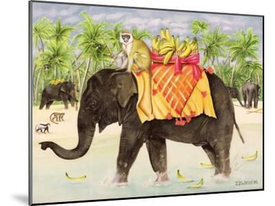 Elephants with Bananas, 1998-E.B. Watts-Mounted Giclee Print