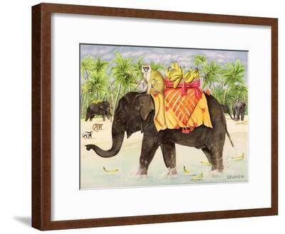 Elephants with Bananas, 1998-E.B. Watts-Framed Giclee Print