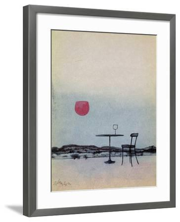 Displaced Red Wine from Glass on Outside Table Becomes the Setting Sun-George Adamson-Framed Giclee Print