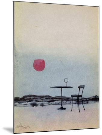 Displaced Red Wine from Glass on Outside Table Becomes the Setting Sun-George Adamson-Mounted Giclee Print