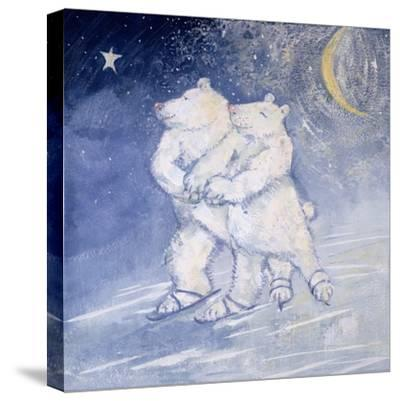 Skating by Moonlight-David Cooke-Stretched Canvas Print