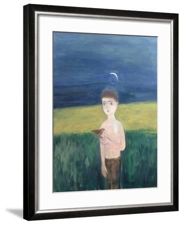 Boy with Bird, 2002-Roya Salari-Framed Giclee Print
