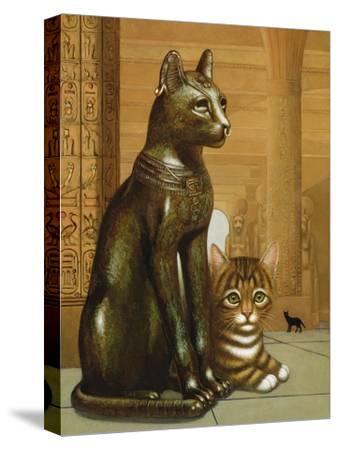 Mike the British Museum Kitten, 1995-Frances Broomfield-Stretched Canvas Print