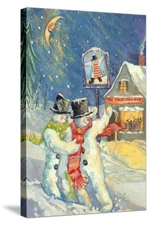 The Jolly Snowman-David Cooke-Stretched Canvas Print