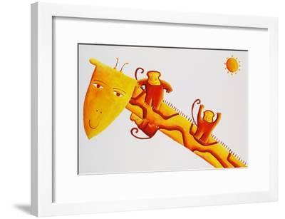 Monkeys Sliding Down Giraffe's Neck, 2002-Julie Nicholls-Framed Premium Giclee Print
