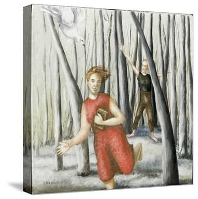 Winter Annunciation with Running Woman in Red, 2006-Caroline Jennings-Stretched Canvas Print