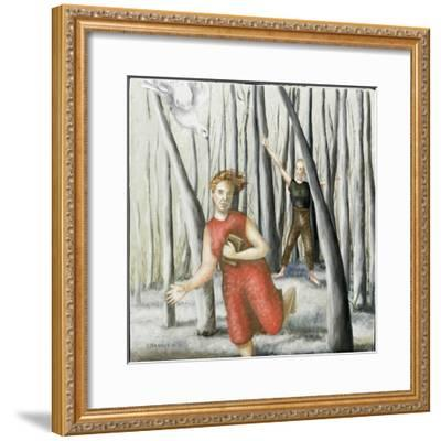 Winter Annunciation with Running Woman in Red, 2006-Caroline Jennings-Framed Giclee Print