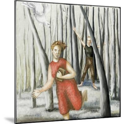 Winter Annunciation with Running Woman in Red, 2006-Caroline Jennings-Mounted Giclee Print