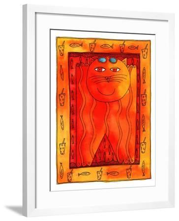 Sunbathing Cat, 1999-Julie Nicholls-Framed Giclee Print