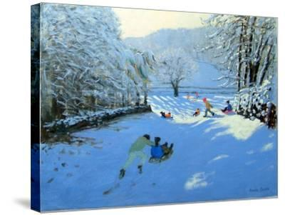 Pushing the Sledge, Youlgreave-Andrew Macara-Stretched Canvas Print