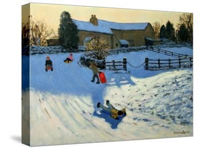 Children Sledging, Monyash, Derbyshire-Andrew Macara-Stretched Canvas Print