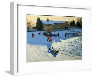 Children Sledging, Monyash, Derbyshire-Andrew Macara-Framed Giclee Print