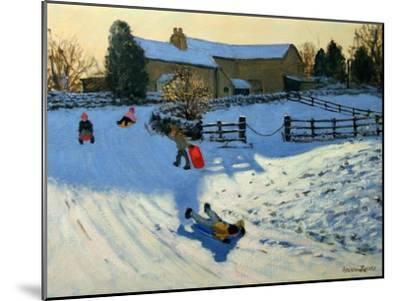 Children Sledging, Monyash, Derbyshire-Andrew Macara-Mounted Giclee Print