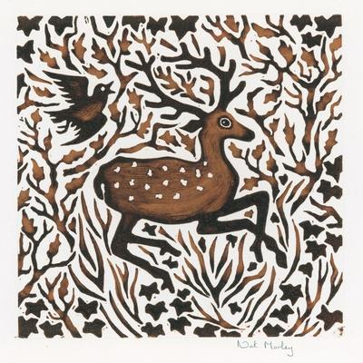 Woodland Deer, 2000-Nat Morley-Stretched Canvas Print