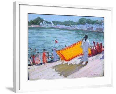 Drying Sari, Pushkar-Andrew Macara-Framed Giclee Print