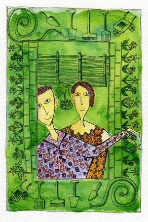 Gardening, 1990-Julie Nicholls-Stretched Canvas Print
