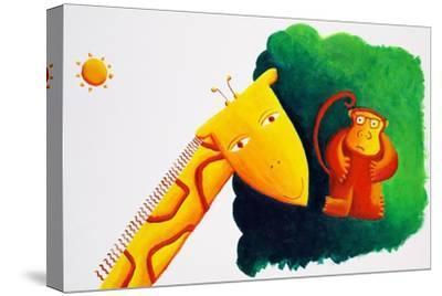 Giraffe and Monkey, 2002-Julie Nicholls-Stretched Canvas Print