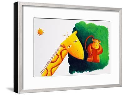 Giraffe and Monkey, 2002-Julie Nicholls-Framed Premium Giclee Print