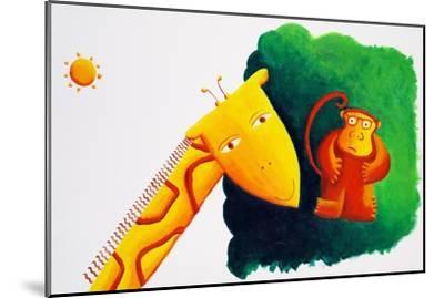 Giraffe and Monkey, 2002-Julie Nicholls-Mounted Premium Giclee Print