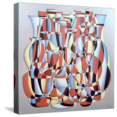 Dimentional Transposition, Vermillion Cerulean-Brian Irving-Stretched Canvas Print