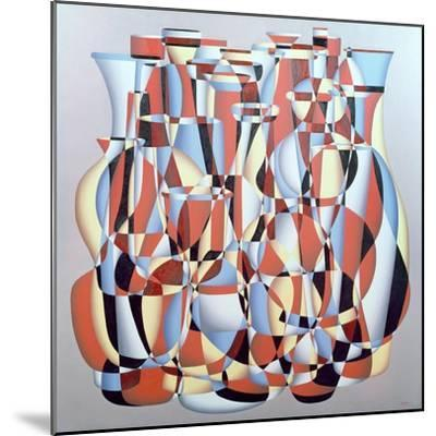 Dimentional Transposition, Vermillion Cerulean-Brian Irving-Mounted Giclee Print