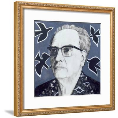 Portrait of Olivier Messiaen, Illustration for 'The Sunday Times', 1970s-Barry Fantoni-Framed Giclee Print