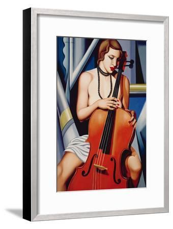 Woman with Cello-Catherine Abel-Framed Giclee Print