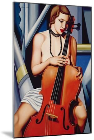 Woman with Cello-Catherine Abel-Mounted Giclee Print