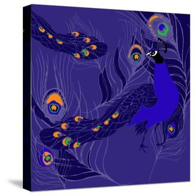 Peacock-Anna Platts-Stretched Canvas Print