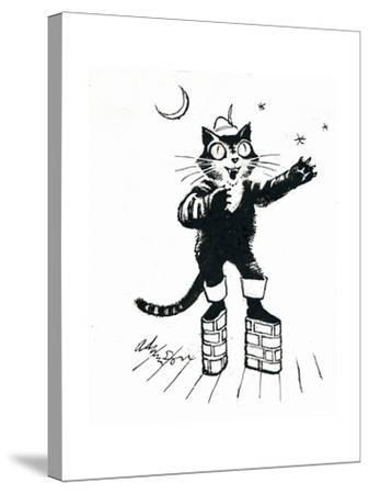 Puss in (Brick-Wall Platform) Boots-George Adamson-Stretched Canvas Print