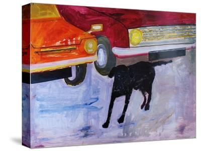 Dog at the Used Car Lot, Rex with Red Car-Brenda Brin Booker-Stretched Canvas Print