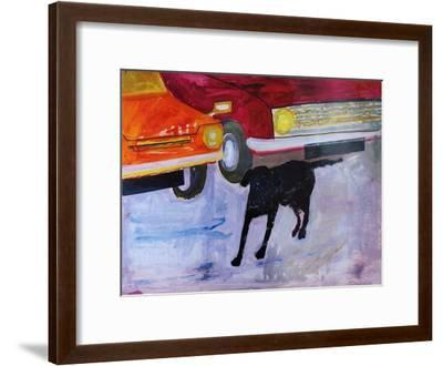 Dog at the Used Car Lot, Rex with Red Car-Brenda Brin Booker-Framed Giclee Print