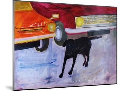 Dog at the Used Car Lot, Rex with Red Car-Brenda Brin Booker-Mounted Giclee Print