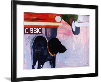 Dog at the Used Car Lot, Rex with Orange Car-Brenda Brin Booker-Framed Giclee Print