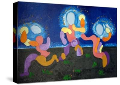 In the Warm Nights of June,The Troglodytes Celebrate Fire, 2009-Jan Groneberg-Stretched Canvas Print