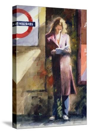 Woman Reading on Notting Hill Gate Platform-John Lidzey-Stretched Canvas Print