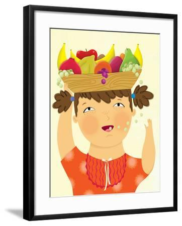 Girl with Fruit - Playmate-Sheree Boyd-Framed Giclee Print