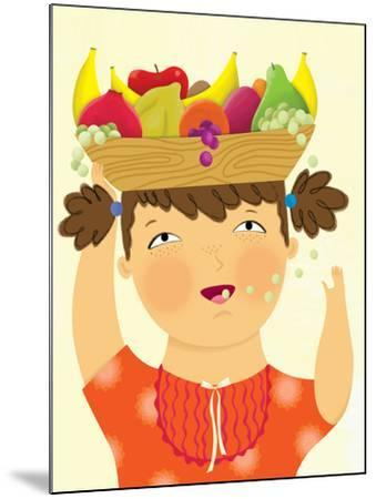 Girl with Fruit - Playmate-Sheree Boyd-Mounted Giclee Print