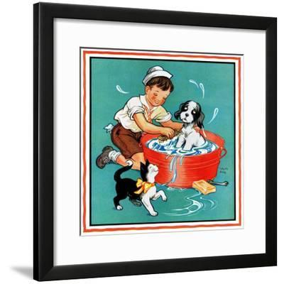 Time for a Bath - Child Life-Clarence Biers-Framed Giclee Print
