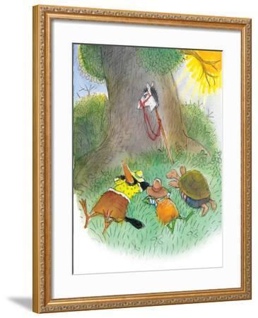 Ted, Ed, Caroll, and the Horse - Turtle-Valeri Gorbachev-Framed Giclee Print