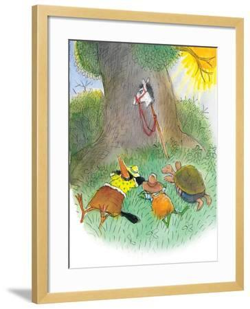 Ted, Ed, Caroll, and the Horse - Turtle-Valeri Gorbachev-Framed Giclee Print
