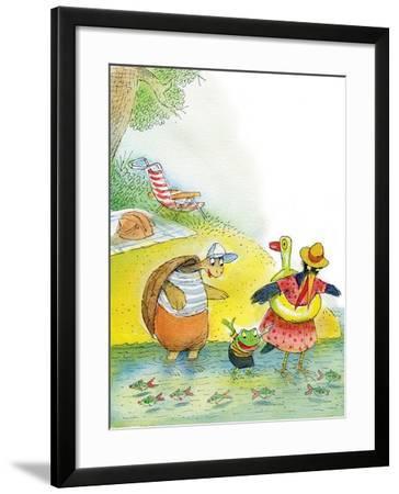 Ted, Ed and Caroll the Tiny Fish - Turtle-Valeri Gorbachev-Framed Giclee Print