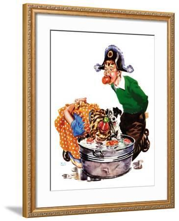 Bobbing for Apples - Child Life-Keith Ward-Framed Giclee Print