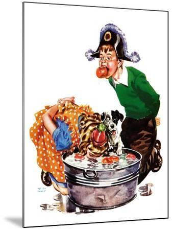 Bobbing for Apples - Child Life-Keith Ward-Mounted Giclee Print