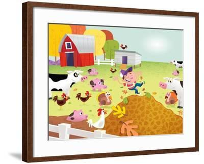 Time to Count - Farmyard - Turtle-Rob McClurkan-Framed Giclee Print