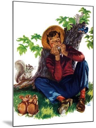 Boy Playing Harmonica - Child Life-Keith Ward-Mounted Giclee Print